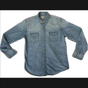 Lucky Brand Womens M Denim Shirt Pearl Snap Button